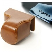 MegaGear Ever Ready Protective Leather Camera Case Bag for Canon Powershot Sx510 HS Canon Powershot SX520 HS (Light Brown)