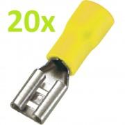 20 Buc X Conector Papuc Mama Izolat Plat 6.4 mm Galben