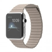 APPLE 42MM STAINLESS STEEL CASE WITH STONE LEATHER LOOP - MEDIUM