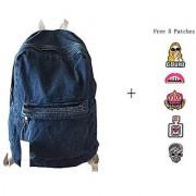 College School Bags Backpacks Girls Denim Cute Bookbags Student Backpack School Laptop Backpack Bag Pack Super Cute for School for Teenage (White Blue)
