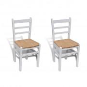 vidaXL Бяло боядисани дървени трапезни столове, 2 броя