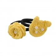 Set elastice de par negre , fetite, Buticcochet, crosetate manual, cu Urs si Floare Galbena