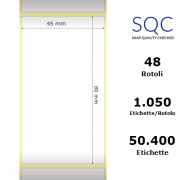 Etichette SQC - Carta patinata (bobina), formato 45 x 80