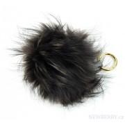 Šedo-černá melírovaná kožešinová bambule z lišky - přívěsek na kabelku