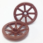Lego Parts: Wagon Wheel - Small 27mm Diameter (PACK of 2 - Brown) by Parts/Elements - Wheels