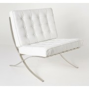 Replica Barcelona chair-full white Premium Italian leather with LEATHER pipping & buttons
