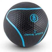 Capital Sports Medba 8 Balón medicinal 8kg (Adecuado para ejercicios de entrenamiento core, functional training y Cross-Training, goma negro)