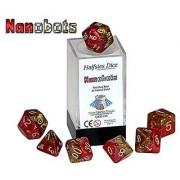 Nanobots Halfsies Dice - 7 die polyhedral rpg gaming dice set - Hot Rod Red & Nitinol Gold