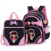 Efree 2 pcs Girl's Cute Bow Princess Waterproof Pink School Backpack Girls Book Bag (Black)