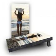 Custom Cornhole Boards Bikini Surfer Girl on the Beach Cornhole Game Set CCB101-2x4-AW / CCB101-2x4-C