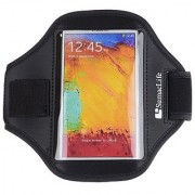 SumacLife Sports GYM Running Armband for Sony Xperia Z1 L39h / Samsung Galaxy note 3 / Galaxy S5 / HTC Buttery S (o-Black)
