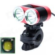 ZHISHUNJIA ZSJ360-B22 1600lm 4-Mode White 2-LED Bicycle Lamp w/ Bike Mount - Red + Black (4 x18650)