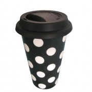"'Easy to go"": Porcelain coffee mug Polka Dot"
