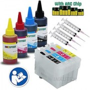 INKUTEN - 4 Refillable Cartridges for EPSON 200 T200 with 4x100ml Dye ink Auto Reset Chips (ARC) - for use in Expression XP-200 XP-300 XP-310 XP-400 XP-410 WorkForce WF-2520 WF-2530 WF-2540