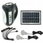 Kit Panou Solar GDLite GD8009 cu Acumulator 6V2A, USB, Radio