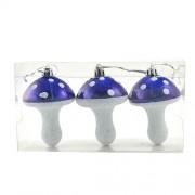 Set 3 globuri pentru brad in forma de ciuperci albastre