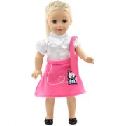 Imported Cute Pink Dress With Belt Decor For 18'' American Girl Dolls