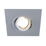 ROW 1 GU10 encastré, carré, gris argent, max. 50W, orientable