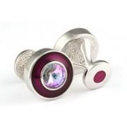 Mousie Bean Crystal Cufflinks Round Polo 004 Asprey/Vitrail Light