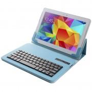 Capa em Pele %26 Teclado Bluetooth Universal para Tablet 9-10.1 - Azul