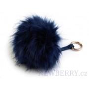 Modrá kožešinová bambule z lišky - přívěsek na kabelku
