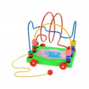 Arshiner Baby Toddler First Bead Maze Toy Circles Bead Colorful Smooth Trailer Wooden Walker Developmental Educational Toy