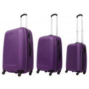 Zestaw trzech walizek ABS01 w kolorze fioletowym - Nowa Kolekcja