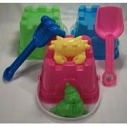 7 Piece Sand Castle Building Small Toy Set (3 Buckets, 4 Shovel Tools)