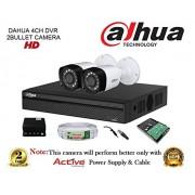 Dahua HDCVI DH-HCVR4104HS-S2 4CH DVR + DH-HAC-HFW1000RP-0360B Bullet Camera 2Pcs + 1TB HDD + Active Cable + Active Power Supply Full Combo