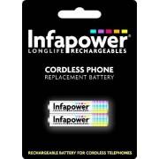 Infapower Batería recargable para teléfono inalámbrico (2 x AAA, 700 mAh, código de compatibilidad 59)
