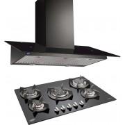 GLEN Glen Cooker Hood(Chimney) 6077 Black 1000BF 60cm LTW + BUILT IN HOB 1075 TR GLASS ( COMBOS ) Wall Mounted Chimney(Black 1000)