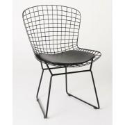 Replica Harry Bertoia Bird Chair black powdercoated with black cushion