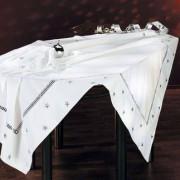Weihnachts-Tischwäsche, Weiss/Silber - Tischdecke, 130 x 225 cm