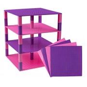 "Premium Pink And Purple Stackable Base Plates 4 Pack 10"" X 10"" Baseplate Bundle With 60 Bonus Building Bricks (Lego Friends Compatible) Tower Construction"