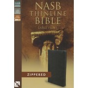 NASB, Thinline Zippered Collection Bible, Large Print, Bonded Leather, Black, Red Letter Edition by Zondervan