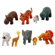 RVOLD World Animal Toys with Trees and Rocks - All Kinds of Animal Toys Like Wild Animals, Farm Animals etc