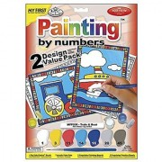 Royal Brush My First Paint by Number Kit 8.75 by 11.375-Inch Train and Boat 2-Pack