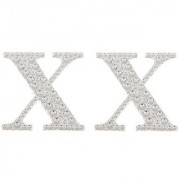 Magideal 2Pcs Self Adhesive Letters Diamante Post Box Favour Embellishment Crafts X