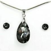 Swarovski kristályos ékszerszett - Mandula 22 mm, Silver Night + díszdoboz