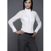 Koszula długi rękaw z falbanką i zakładkami K05
