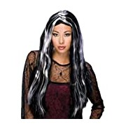 Rubie's Official Halloween Witch Wig Black/Grey Streak, Adult Costume - One Size