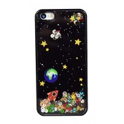 PHX® Sky Space Ship Glitter Sparkle Stars Water Flowing Liquid Hard Back Case Cover Frame For iPhone 5 5s - Black