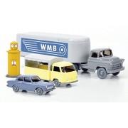 Set WIKING-Tráfico-modelos Nr.10: Sattelschlepper con vagón caja, Vehiculo de Ventas y Ford Taunus 12M, Modelo de Auto, modello completo, Wiking / PMS 1:87