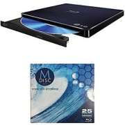 LG 6x WP50NB40 Ultra Slim Portable Blu-ray Writer Bundle with 1 Pack M-DISC BD - Supports M-DISC and BDXL Discs Mac OS X Compatible (Black Retail)