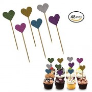 Premium Disposables 48 Multi Colored Glittery Heart Cupcake Toppers. Love Valentine Cake And Cupcake Decorations. Heart Party Favor Supplies. Great For Weddings, Parties, Holidays, Baby And Bridal Showers And More.