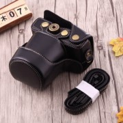 Full Body Camera PU Leather Case Bag with Strap for Canon EOS M10 (Black)