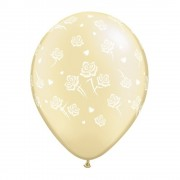 "Baloane latex 11"" inscriptionate Hearts and Roses-A-Round Pearl Ivory, Qualatex 90388"