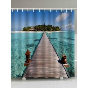 rosegal Sea Island Bridge Print Fabric Waterproof Bathroom Shower Curtain