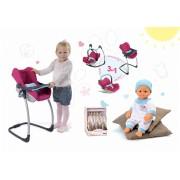 Smoby scaun de masă, scaun de maşină şi leagăn 3in1 retro Maxi Cosi & Quinny şi păpuşă cu hăinuţe Baby Nurse 240226-1