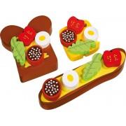 Dřevěné obložené chlebíčky na magnety